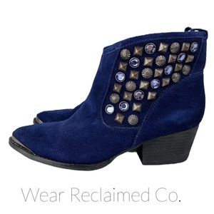 CHINESE LAUNDRY Blue Suede I Spy Ankle Boots